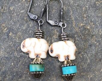 beaded earrings boho earrings turquoise earrings elephant earrings silver boho jewelry bohemian earrings gypsy earrings dangle earrings