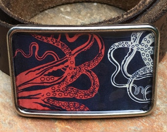 octopus belt buckle mens belt buckle boho accessories resin Belt buckle women's belt buckle steampunk belt buckle red white blue buckles