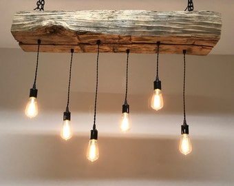 reclaimed barn sleeper beam wood light fixture with led edison pendant lights rustic industrial farmhouse chandelier