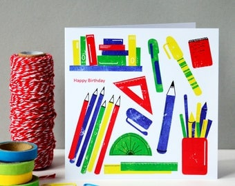 Colourful Stationery Greetings Card