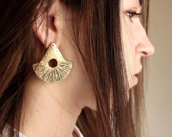 Boho statement earrings half circle earrings african earrings ethnic earrings tribal earrings tuareg jewelry gift for her gold earrings