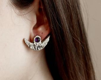 Amethyst earrings silver earrings purple earrings witchcraft jewelry crescent moon earrings gemstone earrings birthstone earrings oxidized