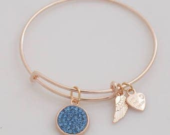 AA1012A  Blue Pave Crystal Adjustable Wire Bracelet ~ Angel Wings & Heart Metal Charms ~ Gold Tone