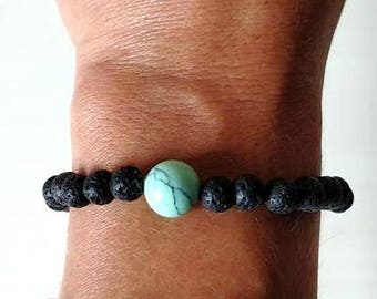 Essential Oil Aromatherapy Lava Bead Mint Turquoise Relaxation Tranquility Bracelet