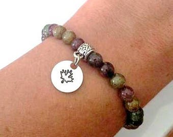 Autumn Maple Leaf Hand Stamped Stretch Beaded Bracelet