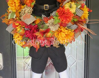 Fall Wreath, Autumn Wreath, Door Hanger, Pilgrim Wreath, Thanksgiving Wreath, Thanksgiving Decoration, Wreath for Door, Large Wreath