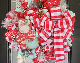 Christmas Wreath, Holiday Wreath, Blue and Red Christmas Wreath, Front door Wreath, Deco Mesh Wreath, Ready to Ship