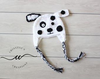 Crochet Baby Dalmatian Dog Hat Spotty White and Black Dog Hat White Dalmatian Puppy Hat