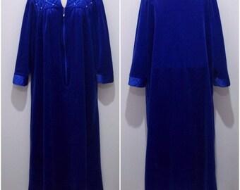 Vintage Tiffany Loungewear Robe Womens Medium Housecoat Indigo Zip-Up #1739