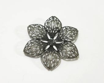Antique Silver, Filigree, Steampunk, Flower, Pendant, Curved, Stamping, Blank, Jewelry, Beading, Supply, Supplies