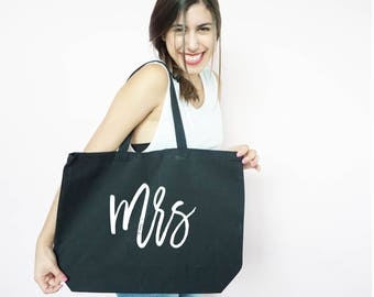 Mrs Canvas Tote, Honeymoon Tote, Just Married, Bachelorette Party Gift, Gift Bag, Tote Bag, Canvas, Honeymoon Gift