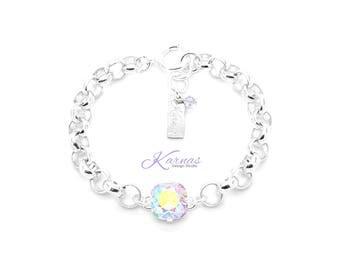 PINK POWDER PUFF Chain 12mm Single Stone Bracelet Made With Swarovski Crystal  *Pick Your Finish *Karnas Design Studio *Free Shipping*
