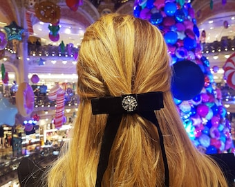 Black Hair Bow/Elegant Hair Accessories/Embroidered With Swarovski/Velvet Accessories/Tie Bows/Bow On Clip/French Style/Womens Accessories