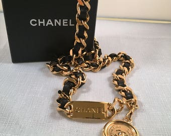 Authentic Chanel gold plated chain & black leather belt/statement necklace, circa. 1994