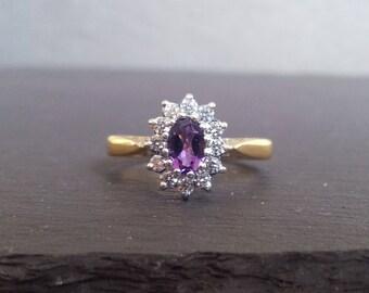 Amethyst 0.50ct Diamond Halo Engagement Ring