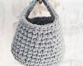 Hanging Basket, Dark Grey, Crocheted basket, Storage solutions, Toy Storage, Storage small items, decorative storage solutions