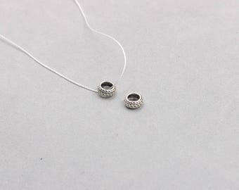 2Pcs 7mm Antique Silver Donut Tire Beads -- 925 Sterling Silver Charms Wholesale For Bridesmaid Gift Party XXSP-S0266,YHA