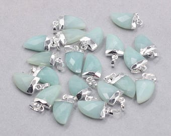 16mm Faceted Amazonite Small Horn Pendants -- With Electroplated Silver Edge Gemstone Charms Wholesale Supplies YHA-329
