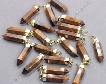 26mm Point Tiger Eye Pendants -- With Electroplated Gold Edge Gemstone Charms Wholesale Supplies YHA-337