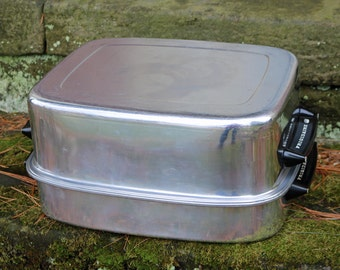 "Frigidaire Roaster, Lid & Rack ~ Aluminum ~ 17"" x 13.5"" x 8.5"" ~ Three Pieces ~ Dutch Oven ~ Mid-Century ~ Broiler Grill ~ Turkey Roaster"