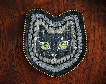Black Cat Spirit - Spirit of The Forest - Magic - Modern Embroidery Art - Cat Painting - Cat Portrait - Galaxy - Talisman - Totem - Patch