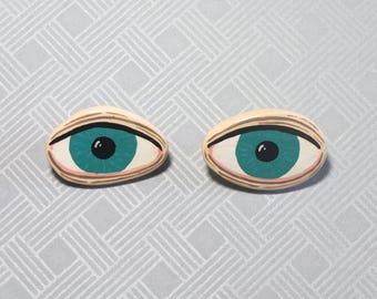 Collar Brooch / Pin * HANDMADE and UNIQUE 2 pcs turquoise EYES