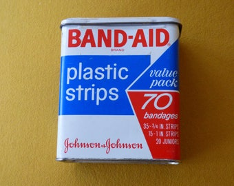 Vintage Band-Aid Tin - Fair Condition - Shows Signs of Age Use and Wear - Working Hinge with Broken Area - Closes Securely - Displays Nicely