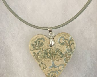 Ceramic Heart Sacred Tree Pendant Necklace on a Sterling Silver and Leather cord, boho, one of a kind, handmade