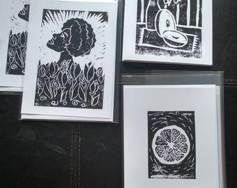 Large Greeting Cards - Original Handpulled Linocut Prints