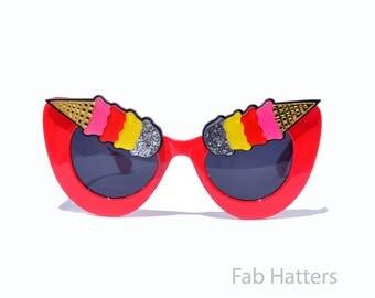 "Red, White, or Black Frame ""Eye Scream"" Ice Cream Cone Eyebrows Sunglasses Sundae Dessert Strawberry, Silver Glitter, Yellow Pink Club Pinup"