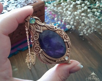 Ethereal Sun-Amethyst Lotus Necklace