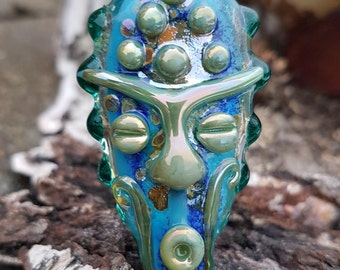 "Handmade glass focal bead ""Mask"", african style lampwork pendant, tribal jewelry, ethnic jewelry, unique glass bead"