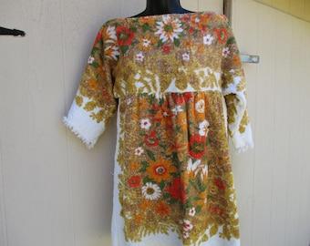 "70's Ladies ""Camper' Empire Waist, Slip On, Terry Cloth Towel Dress"