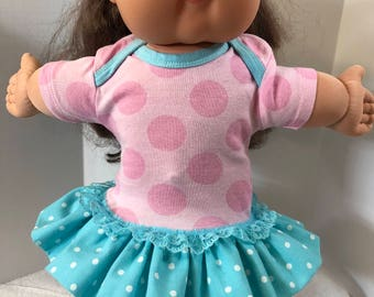 "Cabbage Patch KIDS Doll 16 inch Clothes, Pink ""Lots-of-POLKADOTS"" Ruffle & Lace Trim Dress, 16 inch CPKKids Doll, Fits 15 inch Bitty Baby"