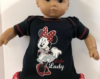"15 inch Bitty Baby Clothes, DISNEY's SPARKLING MINNIE Mouse ""Little Lady"" Dress, 15 inch Bitty Baby or Twin Doll Clothes, Going to Disney!"