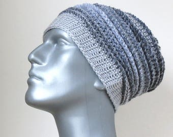 Gray Slouch Hat, Men's Winter Hat, Grey Beanie, Oversized Chunky Crochet Slouchy Beanie, Men's Gifts, Handmade Baggy Hat