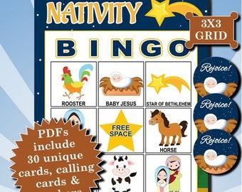 Nativity 3x3 Bingo printable PDFs contain everything you need to play Bingo.
