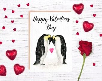 Valentine Penguin, Valentines Card, Penguin Card, Penguin Lover Gifts,  Animal Valentine,