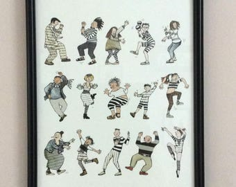 A4 PRINT .WEY HEY,  having a dance .  Party time!   15 people dancing and doing their thing.A4 Print from collage original