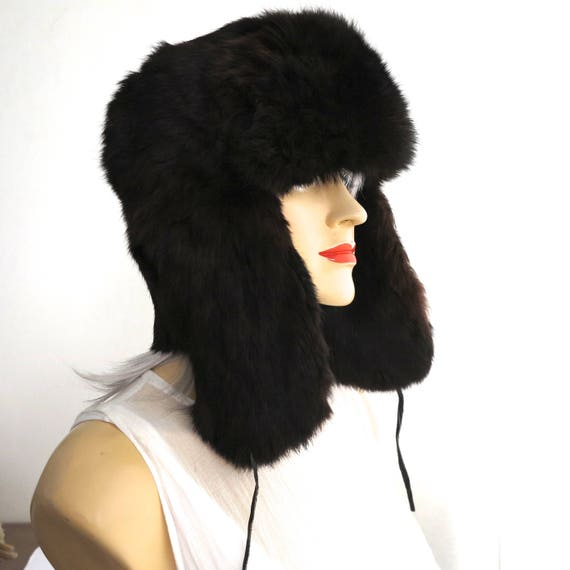 Dark brown rabbit fur trapper hat, Ushanka hat, lumberjack hat, beautifully soft, fully lined, suede ties, size 59 cm / 23.25 inches