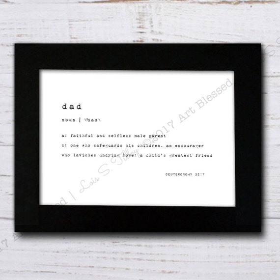Endearing Definition: Dad Defined Typography Print Embellished Definition
