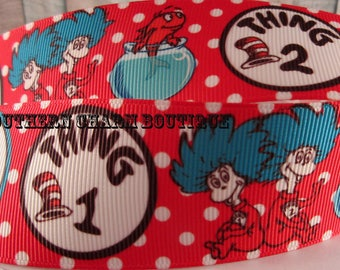 """3 yards 1 1/2 """" Thing 1 and Thing 2 grosgrain ribbon"""
