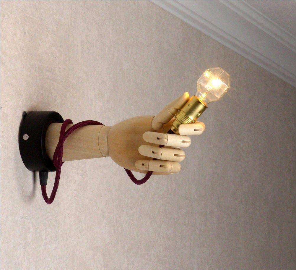 Wall Sconce Lamp Parts : Sconce Wooden lamp Transformer human hand. Human parts art