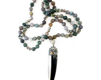 indian agate tibetan horn necklace