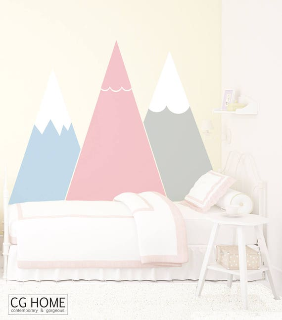 Mountains Wall Decal Pastel Headboard Removable Wall Sticker Customized Washable For Kids Room Self Adhesive Wall Mural Nursery Decor