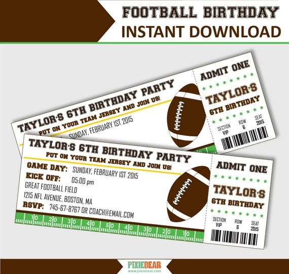 football party invitation football birthday invitation football