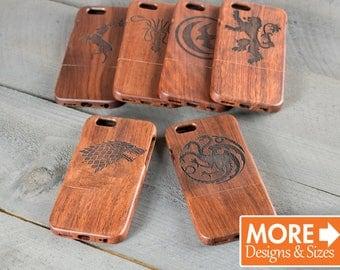 Wood Engraved iPhone or Samsung Phone Case - Game of Thrones Houses - Engraved with Stark, Targaryen, Baratheon, Lannister, Greyjoy or Arryn