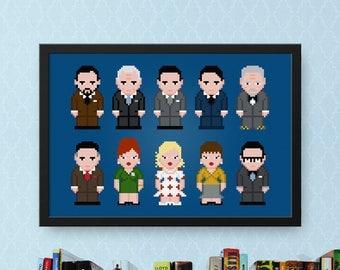 Mad Men Cross Stitch Pattern Modern | Cross Stitch Charts TV Show Cast | Don Draper | Joan Harris | Pixel Cross Stitch | People Cross Stitch