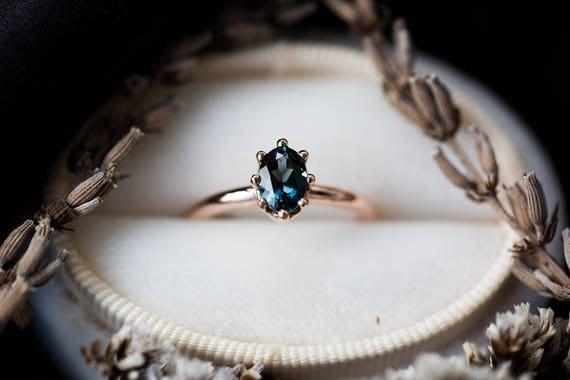 London blue topaz 14k gold engagement ring, 14k gold classic engagement ring, rustic topaz engagement ring, london blue gold ring, gold ring