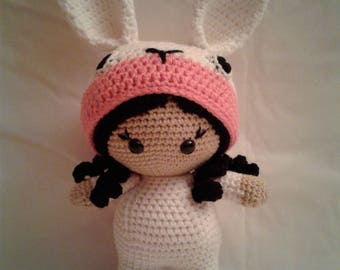 LAURA the Bunny Girl - Crochet Amigurumi Doll - Crochet Girl Doll in Bunny Outfit